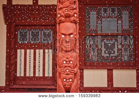 Maori church in town of Rotorua in New Zealand