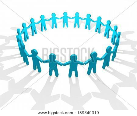 Abstract teamwork concept with ring of blue people figure shapes. 3D rendering.