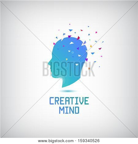 Vector creative mind logo, head silhouette with thoughts and ideas going out. Open your mind. Creative inspirational and motivational illustration.