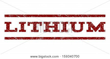 Lithium watermark stamp. Text caption between horizontal parallel lines with grunge design style. Rubber seal dark red stamp with scratched texture. Vector ink imprint on a white background.