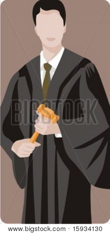 Vector profession series. Chief judge in the court holding a gavel. Check my portfolio for much more of this series as well as thousands of similar and other great vector items.