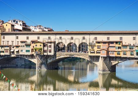 Scenic view of Famous landmark Ponte Vechio in Firence Italy.