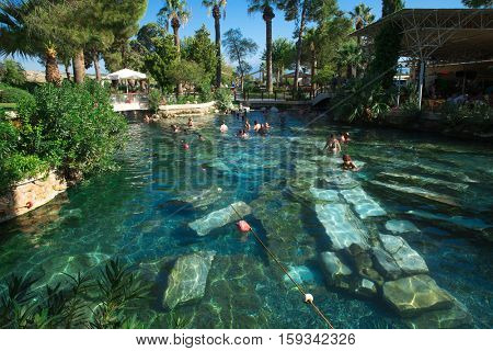 Pamukkale, Turkey - 28 October 2015 - Thermal pool Cleopatra in Pamukkale in Turkey