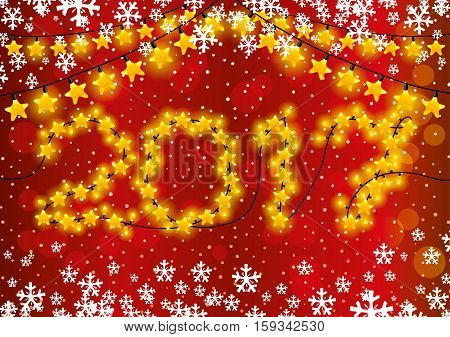 Christmas and New Year garlands on a red background.