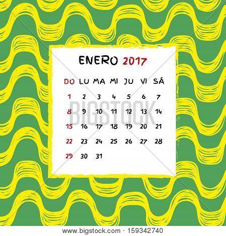 Spanish Calendar 2017. Brazilian Ipanema pattern. Vector pattern.
