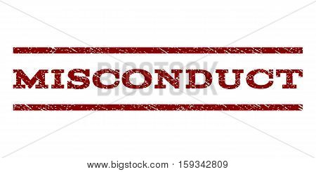 Misconduct watermark stamp. Text caption between horizontal parallel lines with grunge design style. Rubber seal dark red stamp with unclean texture. Vector ink imprint on a white background.