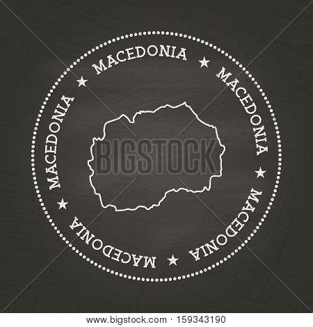 White Chalk Texture Vintage Seal With Former Yugoslav Republic Of Macedonia Map On A School Blackboa