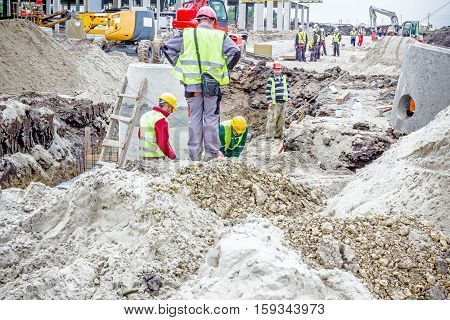 Zrenjanin Vojvodina Serbia - May 28 2015: Assembly process concrete reinforcement housing for drainage waste water from resident sanitary sewer system.