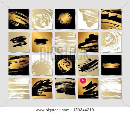 set of 20 black white and gold ink brushes grunge square pattern, hand drawing background collection for your design, brush strokes element vector illustration