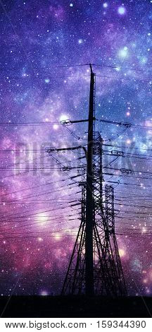 Landscape with power lines and Night sky