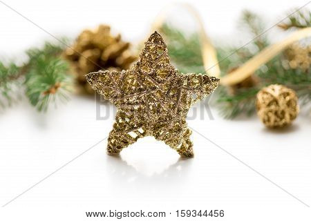 Golden Star on white. Merry Christmas background. New year. Tree, cones.