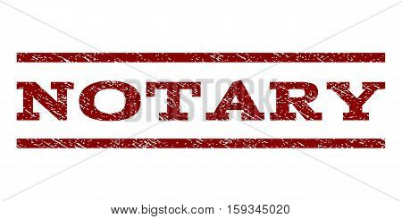 Notary watermark stamp. Text tag between horizontal parallel lines with grunge design style. Rubber seal dark red stamp with scratched texture. Vector ink imprint on a white background.