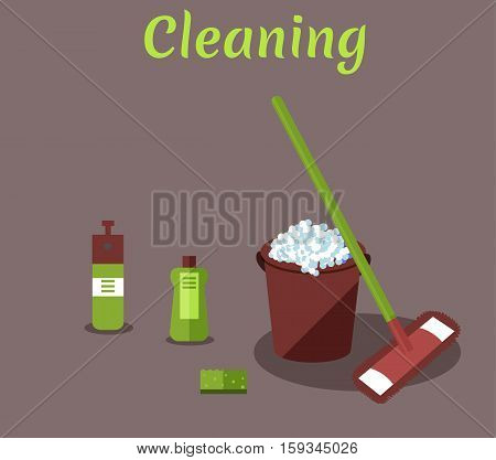 Tools for housekeeping: a burgundy bucket with soapy foam, MOP with green handle and cloth, bottle of detergent with a cover, spray and sponge. Vector illustration. Cleaning