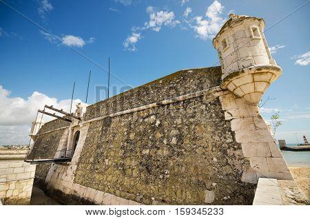 Ancient fortress in Faro, el Algarve Portugal.