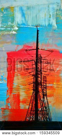 Landscape with power lines at sunrise abstract