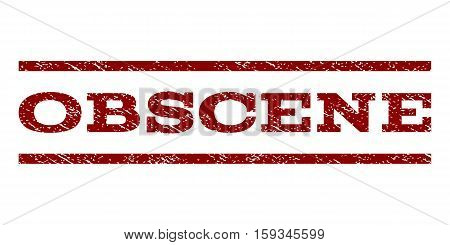 Obscene watermark stamp. Text tag between horizontal parallel lines with grunge design style. Rubber seal dark red stamp with unclean texture. Vector ink imprint on a white background.