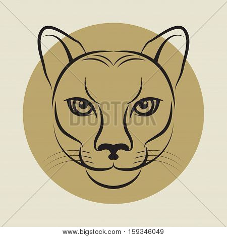 The Cougar also known as the Puma face sign or symbol vector illustration