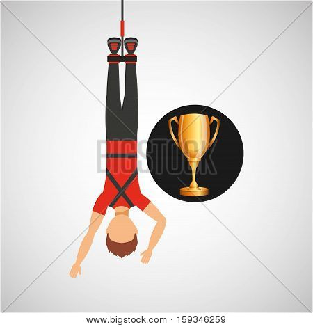 guy bungee jumper rope trophy sport design vector illustration eps 10