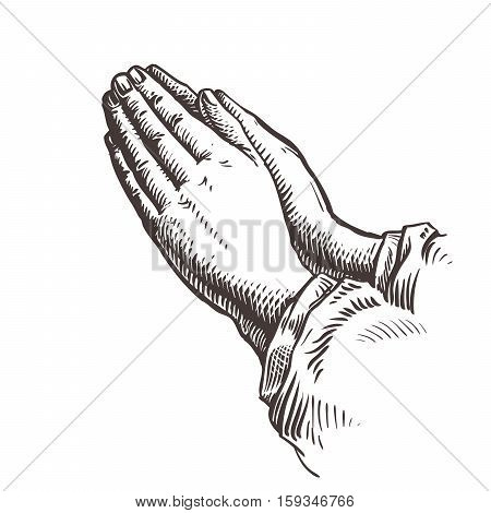 Hands folded in prayer. Sketch vector illustration isolated on white background