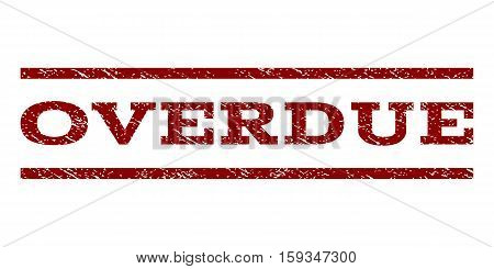 Overdue watermark stamp. Text caption between horizontal parallel lines with grunge design style. Rubber seal dark red stamp with dirty texture. Vector ink imprint on a white background.