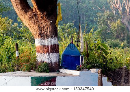 Small roadside temple under the shade of a tree. Such temples dot the landscape in India