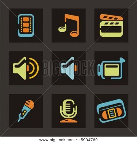 Web icons set. Audio and video. Mail and communication. Check my portfolio for much more of this series as well as thousands of similar and other great vector items.