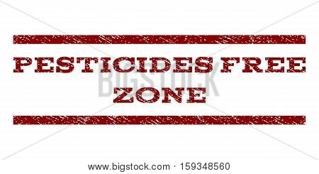 Pesticides Free Zone watermark stamp. Text tag between horizontal parallel lines with grunge design style. Rubber seal dark red stamp with unclean texture. Vector ink imprint on a white background.