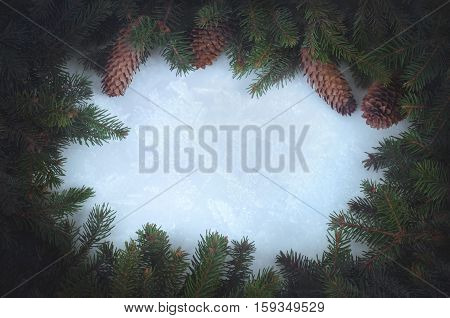 Illustration of Christmas garland, Christmas decoration. The wreath of fir branches