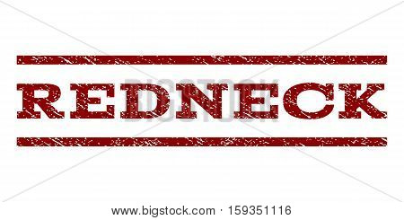 Redneck watermark stamp. Text tag between horizontal parallel lines with grunge design style. Rubber seal dark red stamp with dust texture. Vector ink imprint on a white background.