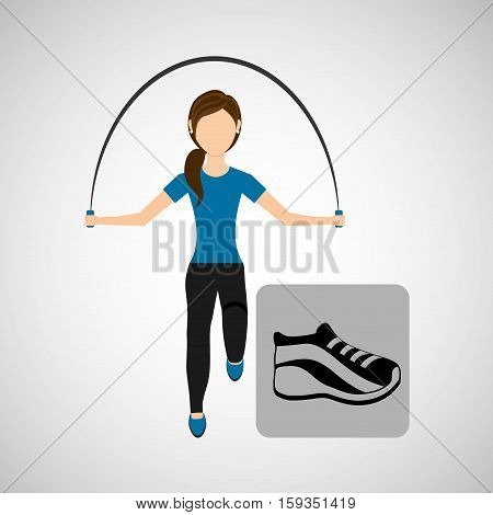 sport woman jumping rope sneaker vector illustration eps 10