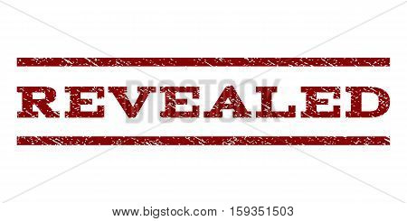 Revealed watermark stamp. Text caption between horizontal parallel lines with grunge design style. Rubber seal dark red stamp with dirty texture. Vector ink imprint on a white background.