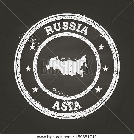 White Chalk Texture Grunge Stamp With Russian Federation Map On A School Blackboard. Grunge Rubber S