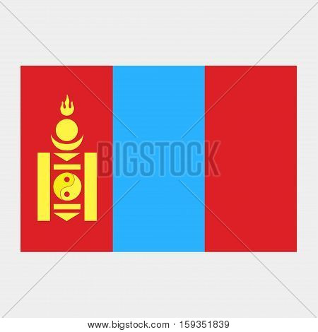 Flag of Mongolia on a grey background
