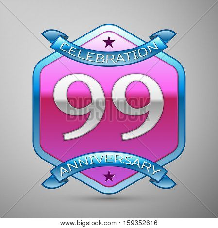 Ninety nine years anniversary celebration silver logo with blue ribbon and purple hexagonal ornament on grey background.