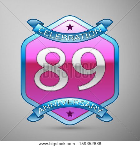 Eighty nine years anniversary celebration silver logo with blue ribbon and purple hexagonal ornament on grey background.