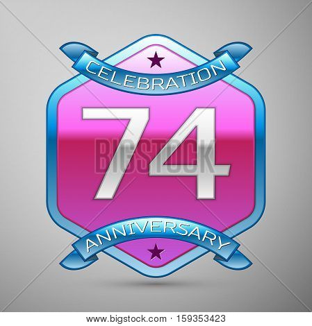 Seventy four years anniversary celebration silver logo with blue ribbon and purple hexagonal ornament on grey background.