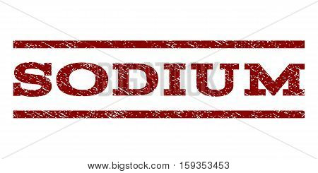 Sodium watermark stamp. Text tag between horizontal parallel lines with grunge design style. Rubber seal dark red stamp with dirty texture. Vector ink imprint on a white background.