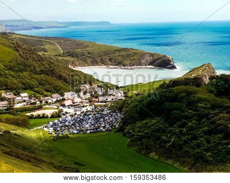 View of the Lulworth Cove village in Dorset England