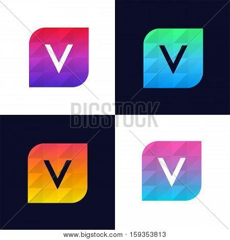 V letter logo icon mosaic polygonal colorful shape element. Creative company sign vector design