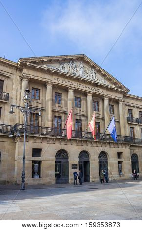 PAMPLONA, SPAIN - NOVEMBER 2, 2016: Local government building of the Navarra region in Spain
