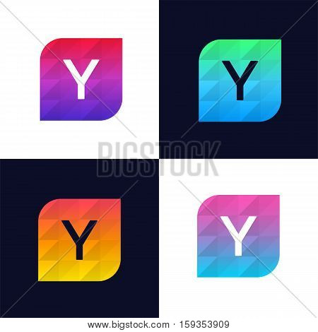 Y letter logo icon mosaic polygonal colorful shape element. Creative company sign vector design