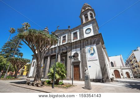 LA LAGUNA SPAIN - AUGUST 13: San Cristobal de la Laguna Cathedral on August 13 2016 in Tenerife Canary island Spain.