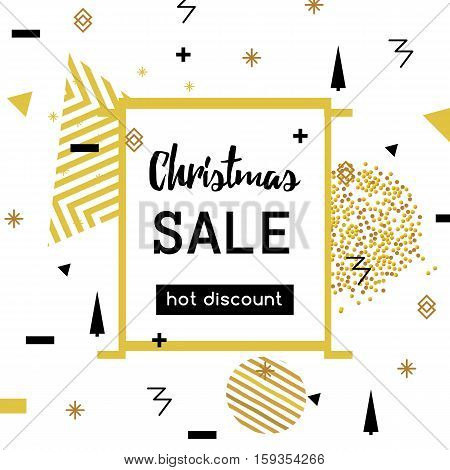 Christmas Sale modern banner in the Memphis style. Template Sale. Special offer.Hot discount. Bright golden colors for a flyer. vector