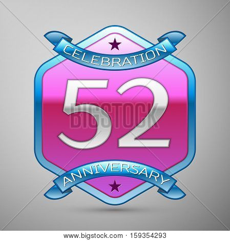 Fifty two years anniversary celebration silver logo with blue ribbon and purple hexagonal ornament on grey background.