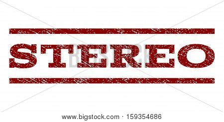 Stereo watermark stamp. Text caption between horizontal parallel lines with grunge design style. Rubber seal dark red stamp with dust texture. Vector ink imprint on a white background.