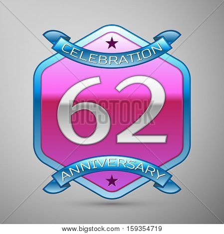 Sixty two years anniversary celebration silver logo with blue ribbon and purple hexagonal ornament on grey background.