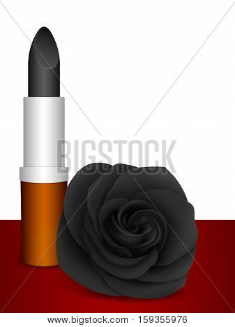 Black lipstick & black rose. Vector illustration.