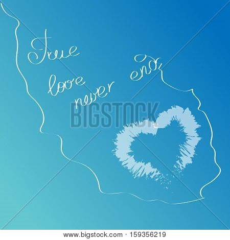 White Cloud In The Shape Of A Heart On A Blue Sky With Hand Drawn Words True Love Never Ends. Love Q