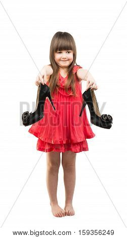 fashionista girl with shoes on a white background