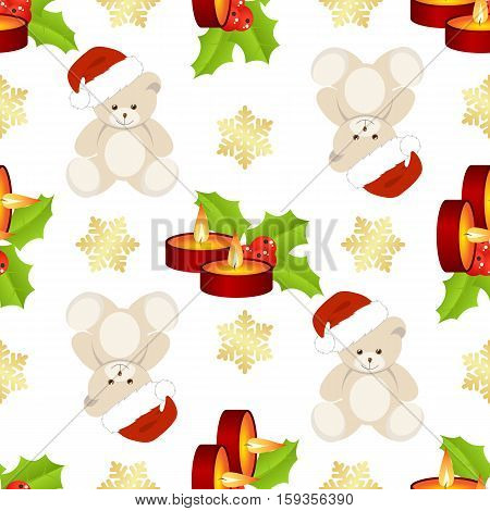 Christmas seamless with teddy bear and candles on white background.